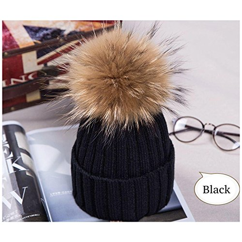 MMTX Women Ladies Winter Rib Knit Hats Hedging Beanie Cap Warm Outdoor Fashion Hat with Chunky Faux Fur Bobble Pompoms(Black)