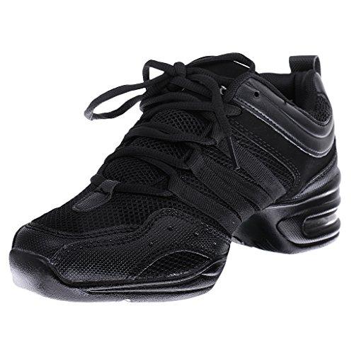 Generic Donne Jazz Ballo Danza Hip Hop Sport Scarpe Da Tennis - Nero + grigio, 37