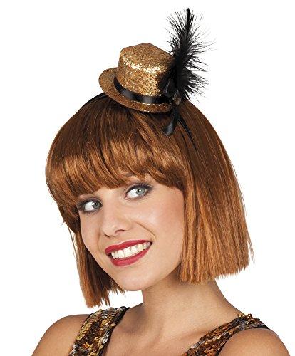 Karnevalsbud - Glitzer Tiara Mini Hütchen Haarreif mit Feder Kostüm, Gold