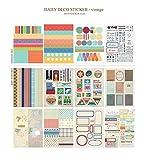 YPSelected Satz von 12 Blätter Vintage Deco Papieraufkleber Aufkleber Geschenkverpackung Scrapbooking