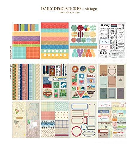 Satz von 12 Blätter Vintage Deco Papieraufkleber Aufkleber Geschenkverpackung Scrapbooking