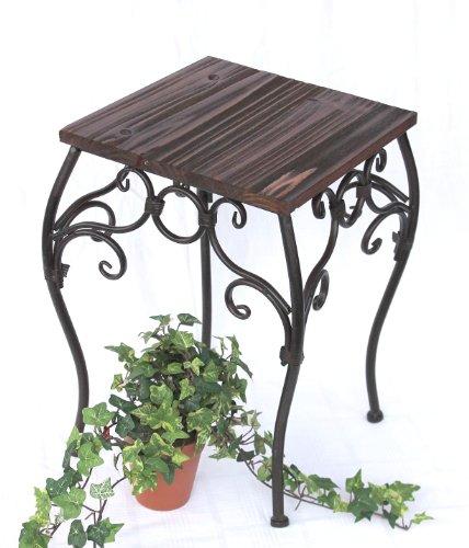 DanDiBo Blumenhocker Metall Braun Eckig 43 cm Blumenständer 12593 Beistelltisch Pflanzenständer Klein Holzablage