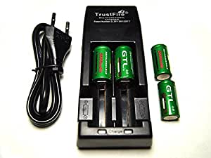Chargeur Trustfire Tr-001 + 4 Piles Cr123a Rechargeables 2000mAh 3.6V GTL