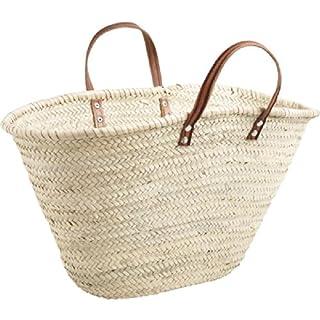 Aubry Gaspard Handgeflochtener Einkaufskorb Badetasche Strandtasche aus Palmfaser