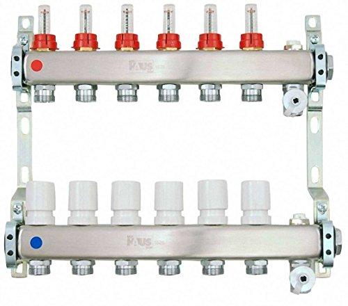 Heizkreisverteiler aus Edelstahl für Fußbodenheizung Profi-Ausführung 6-fach, inkl. 2x Kugelhahn 1