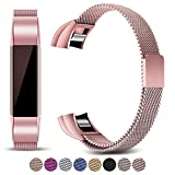 Mornex Strap Compatible Fitbit Alta and Alta HR Metal Bands, Milanese Stainless Steel Adjustable Replacement Accessory Straps Fitness Wristband, Pink Gold