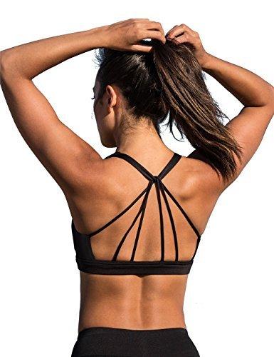 icyzone Sport BH Damen Yoga BH mit Gepolstert - Starker Halt Fitness-Training Strech BH Bustier Push up Top ohne Bügel Sports Bra (S, Black)