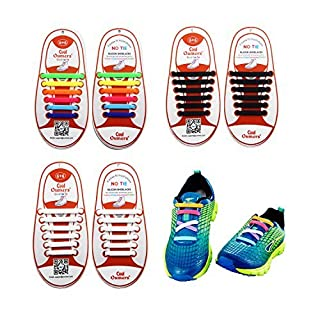 Oumers No Tie Shoelace, Lazy Tieless Silicone Rubber Sneaker Shoelaces for Kids and Adults, Waterproof/Durable, Easy to Install/Off