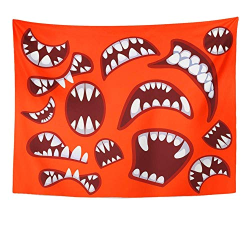 AOCCK Wandteppiche Wall Hanging Devil with Different Monster's and Devil's Mouth on The Red Scary Mutant Crazy 60