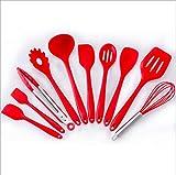 Aofanhome Silikon Geschirr Set Hitzebeständige Küche Kochutensilien Antihaft Backen Werkzeug Kochen Werkzeuge 10 Teile/satz, rot