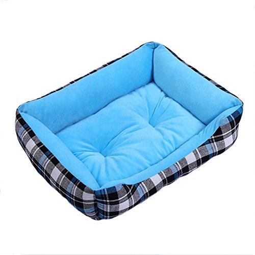 Cupcinu Haustier Nest Haus Hund Bett Katze Bett Hund Decke Hundehütte Matten Kissen Pet Pads rechteckiges Hundebett für den Innenbereich verwenden Plaid Stoff Stil Size 41 * 31cm (Azul S)