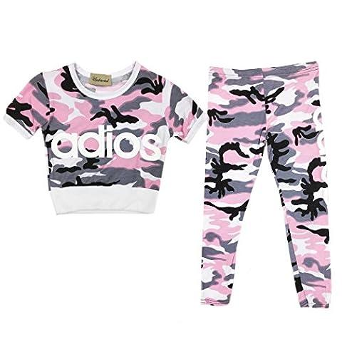 Kids Tracksuit ADIOS Printed Crop Top/ T Shirt & Jogging Bottom Legging Set (Pink Camouflage ADIOS, 9-10