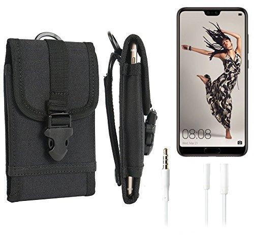 K-S-Trade Schutzhülle für Huawei P20 Pro Single-SIM Gürteltasche Gürtel Tasche extrem robuste Handy Schutz Hülle Tasche Outdoor Handyhülle schwarz 1x + Kopfhörer