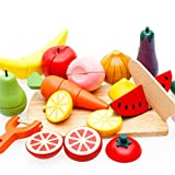 Holzsammlung Lebensmittel Küchenspielzeug Set Holztablett mit Holzobst Gemüse Schneideset für Kinder 3 Jahre Alt und Oben - Perfektes Weihnachtsgeschenk für Ihre Kinder