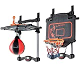 #3: IndusBay 2 in 1 Adjustable Basketball Boxing Set Automatic Score Record Toy Set with Light and Music Indoor/Outdoor Toy for Kids