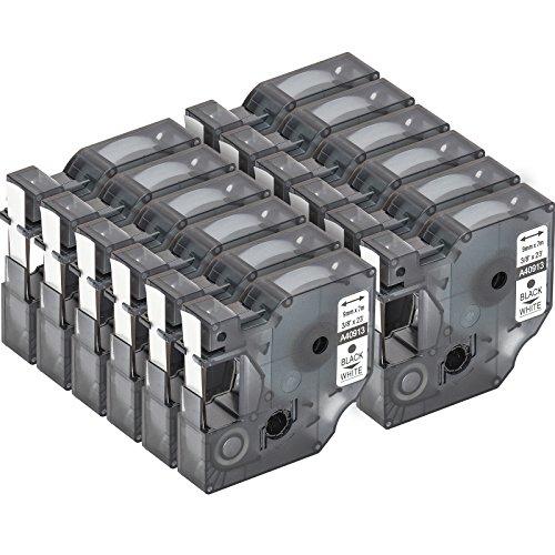 12 Cartuchos para impresión de etiquetas compatible con Dymo D1 40913 en negro sobre blanco 9 mm x 7 m para la LabelManager LabelPoint LabelWriter para DYMO LabelPOINT & LabelManager LM100 / LM120P / LM150 / LM160 / LMPC2 / LM200 / LM210D / LM220P / LM260 / LM280 / LM300 / LM350 / LM400 / LM260P / LM350D / LM360D / LM420P / LM450 / LP350 / LP100 / LP150 / LP200 / LP250 / LP300 / PC / PC2 / PnP / PnP WiFi / LW400 / LW450 Duo