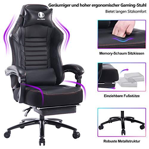 KILLABEE großer Memory Foam Gaming Stuhl - Verstellbarer Neigungswinkel, Rückenwinkel und 3D-Arme. Ergonomische hohe Rückenlehne aus Leder .Exklusiver Computer-Schreibtisch. Bürostuhl mit Metallsockel