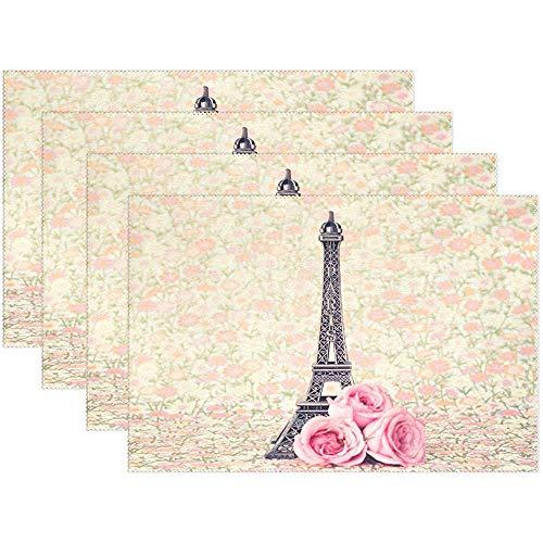 Rose Paris Eiffelturm Tischset Tischset, Frankreich Tischset aus Polyester mit Blumendruck für Esszimmer, 6er-Set, 45X30 cm