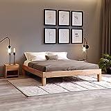 Krok Wood Jana Massivholzbett in Buche 180 x 200 cm FSC 100% Massiv Doppelbett, Natur geölt Buchebett/eichebett, Billig Futonbett, massivholz Bett vom Hersteller und kostenlose Lieferung