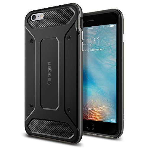 Custodia iPhone 6S Plus, Spigen Custodia iPhone 6 Plus [Stile-Elegante-Bumper] Neo Hybrid Carbon [Gunmetal] **Elaborata Struttura & Designo** Cover iPhone 6S Plus / 6 Plus (SGP11666) Grigio Scuro