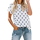 iHENGH Shirt Top Blouse Maniche Corte Girocollo Stampa Moda Casual Cotone Donna Shirts Ragazza Shirt Woman 2019 Semplice San Valentino Festa Nero Regalo Estate(Bianco,Large)