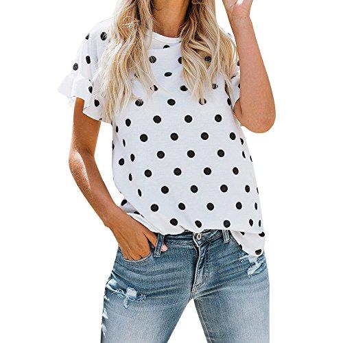 Luckhome Oberteil Damen Sexy Kurz Sommer Kurzarm Vintage Polka Dots T-Shirt V-Ausschnitt Tops Sweatshirt,Dame O-Neck Druck Dot Halbes Loses Bluse(Weiß,S) - Polka Dots Jumper