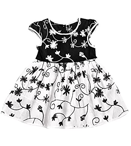 Aikobaby Baby Girls' Floral Printed Infant Cute Soft Summer Knee Length Dress (36-42M, Black