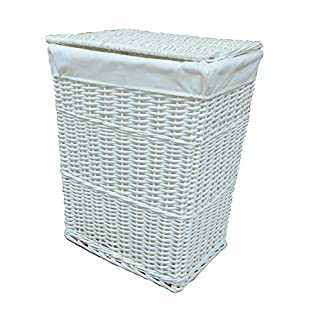 ARPAN Large Wicker Laundry Basket with White Lining, 32LX45WX59H