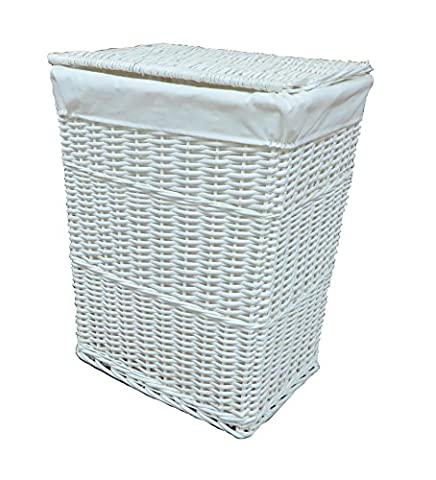 Arpan Large White Wicker Laundry Basket With White