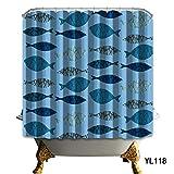 TS-nslixuan Duschvorhang Wasserdicht Schimmel Badezimmer Duschvorhang Schön Lang 180X180 Cm (72X72 Zoll) Persönlichkeit Blau Rund Um Den Duschvorhang