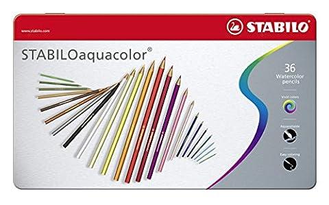 STABILOaquacolor - Boîte métal de 36 crayons de couleur aquarellables - Coloris assortis
