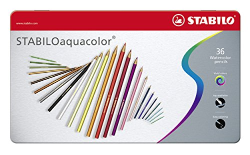 Matita colorata acquarellabile - stabiloaquacolor - scatola in metallo da 36 - colori assortiti