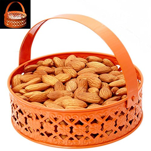 Ghasitaram Gifts Bhaidooj Gifts Dryfruits Hamper - Orange Metal Light Almonds Basket  available at amazon for Rs.896
