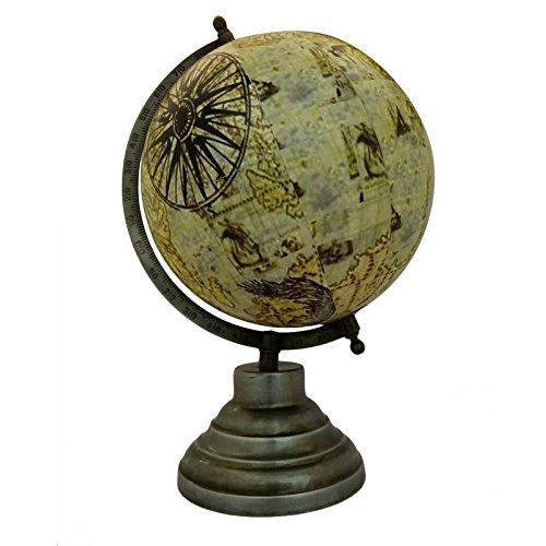 Aone India World Globe with Base Educational Learning Rotating Desktop Globe - Perfect for Kids, Geography Students, Teachers and More- Antique style - 5 Inches