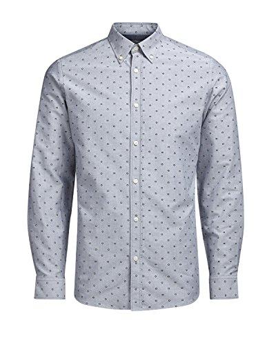 JACK JONES - Homme chemise slim fit manches longues panama shirt Gris Clair