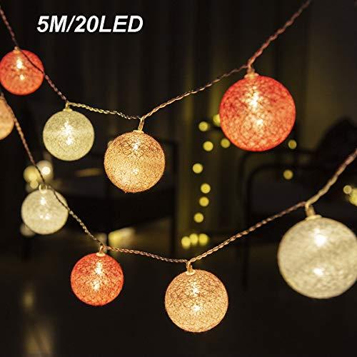GIGALUMI LED Kugel Lichterkette Ø 6 cm 20 Stück Pink und Weiß Baumwolle Kugel Batterie betrieben innen Deko für Weihnachten, Hochzeit, Party usw.
