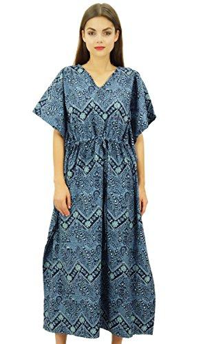 Bimba Damen Lange Baumwolle Kaftan Maxi Printed Kimono Kleid Kordelzug Vertuschung Nachtwäsche - White Print Kaftan
