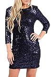 MIXLOT Neue Frauen Pailletten Verschönert Midi Bodycon Party Kleider Größen 8-14 (Navy, Size 36)