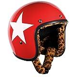 Bandit Helmets Jethelm Star Red Leo-Futter,Motorradhelm mit Leoparden Futter und Sonnenschild, Sports-Farbe:Red;Größe:M(57-58cm)
