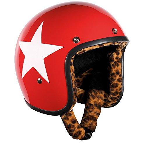 Bandit Helmets Jethelm Star Red Leo-Futter,Motorradhelm mit Leoparden Futter und Sonnenschild,Sports-Farbe:Red;Größe:L(59-60cm)
