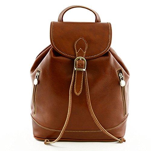 Damen Leder Rucksack Farbe Cognac - Italienische Lederwaren - Rucksack