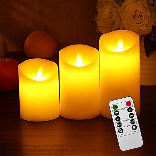 3Velas LED con llama parpadeante, funciona con pilas, mando a distancia y temporizador