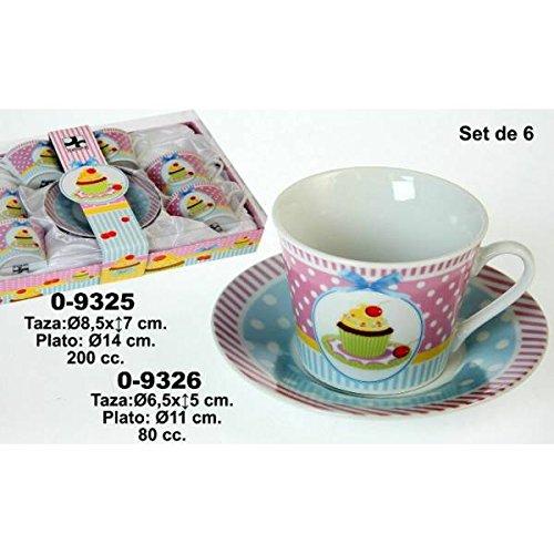 DonRegaloWeb - Set de 6 tazas con plato de café de ceramica decorada