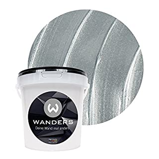 Wanders24 Metall Optik (1 Liter, Silber) Effektfarbe, Wandfarbe, Metallic  Wand