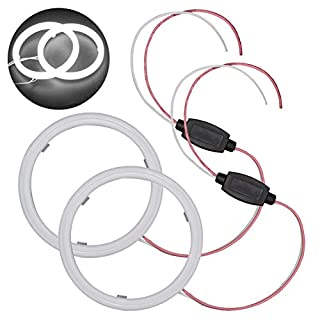TABEN 1-Set White 70mm 45SMD 3020 Chips LED Angel Eyes Halo Ring Headlight & Fog Housing Lamp with Milk-Shell
