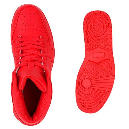 Sportliche Herren Damen Unisex Sport Schuhe Sneaker High Top Basketballschuhe Cultz 90's Style Rot Total Berkley