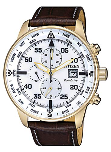 Citizen Herren Chronograph Quarz Uhr mit Leder Armband CA0693-12A