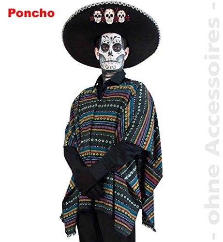 Poncho El Paco, 1-tlg Überwurf, grün/bunt gestreift, Einheitsgröße, Mexikanischer Totentag Dia de los muertos Karneval Halloween *NEU bei Pibivibi© (El Dia De Los Muertos Halloween-kostüme)