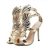 UFACE Volltonfarbene MetallflüGel Mit Offenen High Heels Mode Frauen Pumpen Blatt Flamme Heel Schuhe Sexy Peep Toe Sandalen (40, Golden)