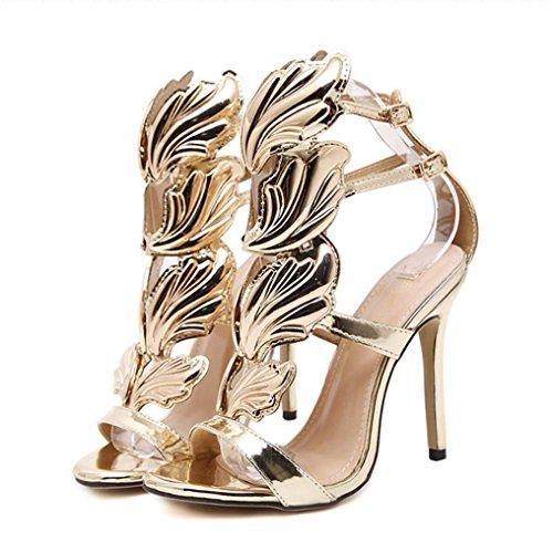 UFACE Volltonfarbene MetallflüGel Mit Offenen High Heels Mode Frauen Pumpen Blatt Flamme Heel Schuhe Sexy Peep Toe Sandalen (35, Golden) -